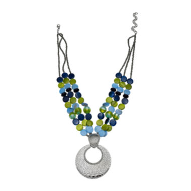 jcpenney.com | Mixit™ Blue and Green Shell Silver-Tone Pendant Necklace