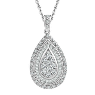 jcpenney.com |  LIMITED QUANTITIES 1/2 CT. T.W. 10K White Gold Drop Pendant Necklace