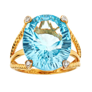 jcpenney.com | LIMITED QUANTITIES Oval Blue Topaz 14K Yellow Gold over Silver Ring