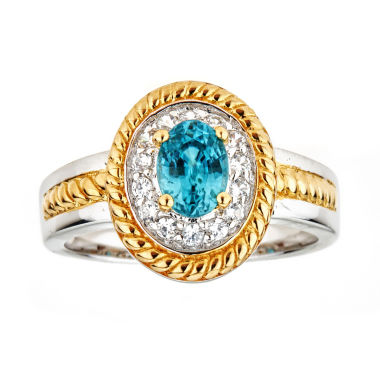 jcpenney.com | LIMITED QUANTITIES Genuine Blue Zircon Two-Tone Ring