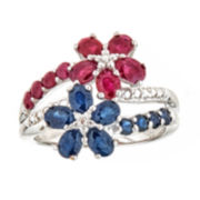 Sapphire and Ruby Sterling Silver Flower Ring