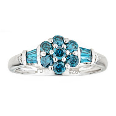 jcpenney.com | LIMITED QUANTITIES Color-Enhanced Blue Diamond Sterling Silver Flower Ring