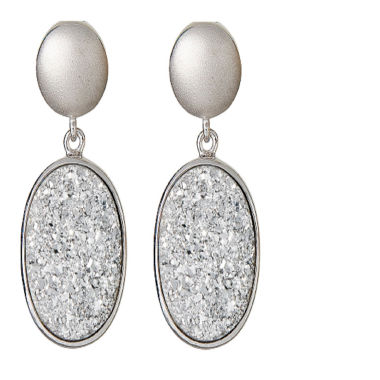jcpenney.com | LIMITED QUANTITIES Oval Drusy Quartz Sterling Silver Drop Earrings 1