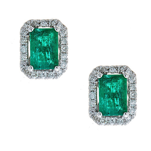 LIMITED QUANTITIES  Lab Created Cushion-Cut Emerald 14K White Gold Stud Earrings