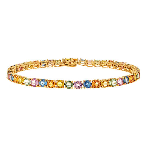 LIMITED QUANTITIES  Lab-Created Sapphire 10K Yellow Gold Bracelet