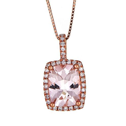 LIMITED QUANTITIES  Cushion-Cut Morganite 10K Rose Gold Pendant