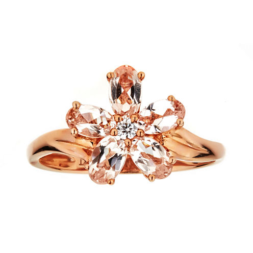 LIMITED QUANTITIES  Morganite 10K Rose Gold Flower Ring