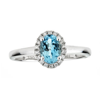 jcpenney.com | LIMITED QUANTITIES  Genuine Oval Aquamarine 10K White Gold Ring