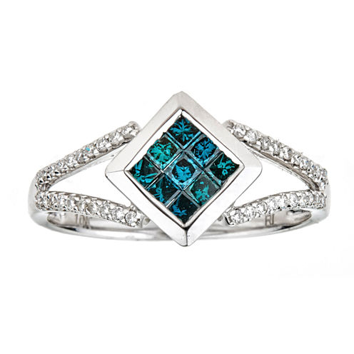 LIMITED QUANTITIES  1/2 CT. T.W. Color-Enhanced Blue Diamond 10K White Gold Ring