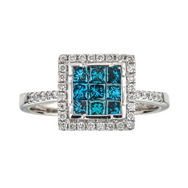 jcpenney.com | LIMITED QUANTITIES  3/4 CT. T.W. Color-Enhanced Blue Diamond 14K White Gold Ring
