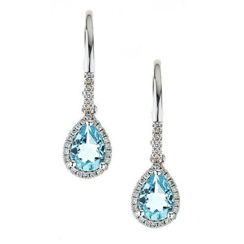LIMITED QUANTITIES Genuine Aquamarine 10K White Gold Drop Earrings