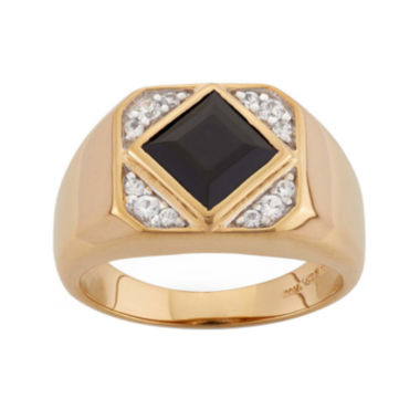 jcpenney.com | Mens Onyx & Lab-Created White Sapphire 14K Gold Over Silver Ring