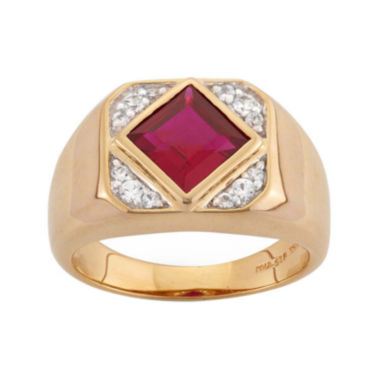jcpenney.com | Mens Lab-Created Ruby & White Sapphire 14K Gold Over Silver Ring