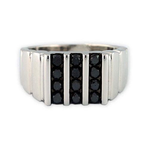 Mens Color Enhanced Black Diamond Sterling Silver Ring
