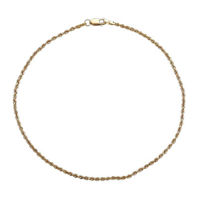 Fine Jewelry Infinite Gold 14K Yellow Gold Glitter Solid Rope Anklet Bracelet H8Fl9rs