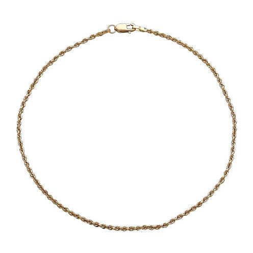 Infinite Gold™ 14K Yellow Gold Glitter Solid Anklet Bracelet