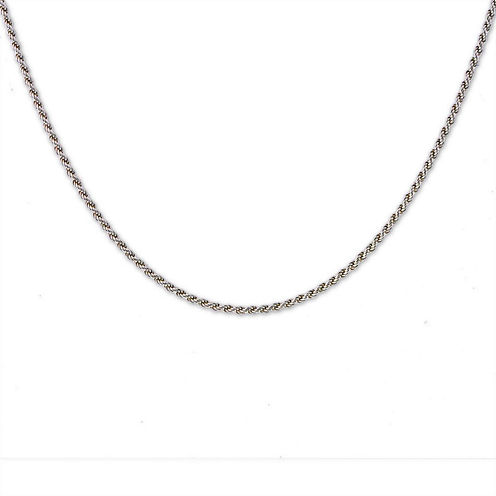 """Mens 24"""" Sterling Silver Rope Chain Necklace"""