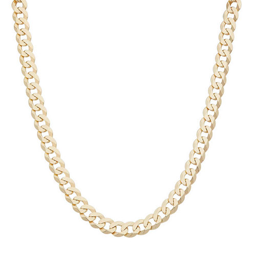 """Mens 18K Yellow Gold Over Silver 8.4mm 20"""" Curb Chain Necklace"""