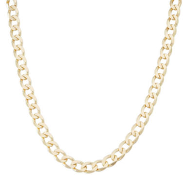 "jcpenney.com | Mens 18K Yellow Gold Over Silver 8.8mm 24"" Curb Chain Necklace"