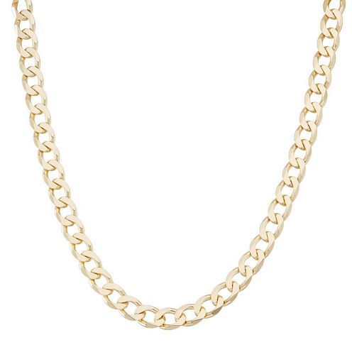 """Mens 18K Yellow Gold Over Silver 8.8mm 24"""" Curb Chain Necklace"""