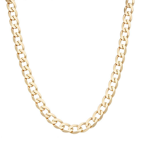 """Mens 18K Yellow Gold Over Silver 9.6mm 24"""" Curb Chain Necklace"""