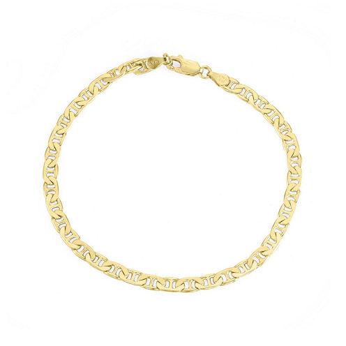 "Mens 18K Yellow Gold Over Silver 9"" Mariner Chain Bracelet"