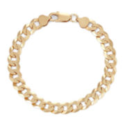 """Mens 18K Yellow Gold Over Silver 8"""", 8.4mm Curb Chain Bracelet"""