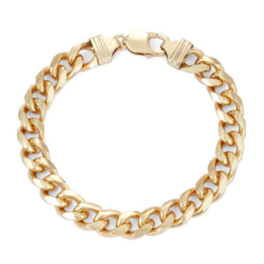 "jcpenney.com |  Mens 18K Yellow Gold Over Silver 9"", 9.7mm Curb Chain Bracelet"