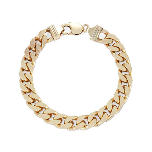 """Mens 18K Yellow Gold Over Silver 9"""", 9.8mm Curb Chain Bracelet"""