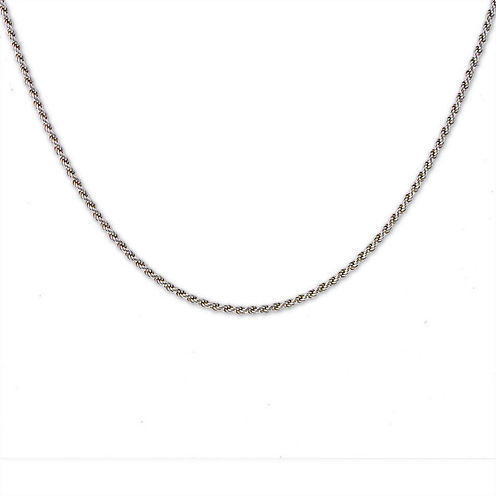 """Mens 30"""" Sterling Silver Rope Chain Necklace"""