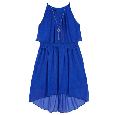 jcpenney.com | Byer® Cobalt Sparkle Halter Popover Dress - Girls 7-16