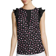 I 'Heart' Ronson® Sleeveless Ruffle Watermelon-Print Blouse