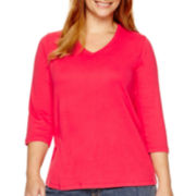 St. John's Bay® 3/4-Sleeve V-Neck T-Shirt - Plus