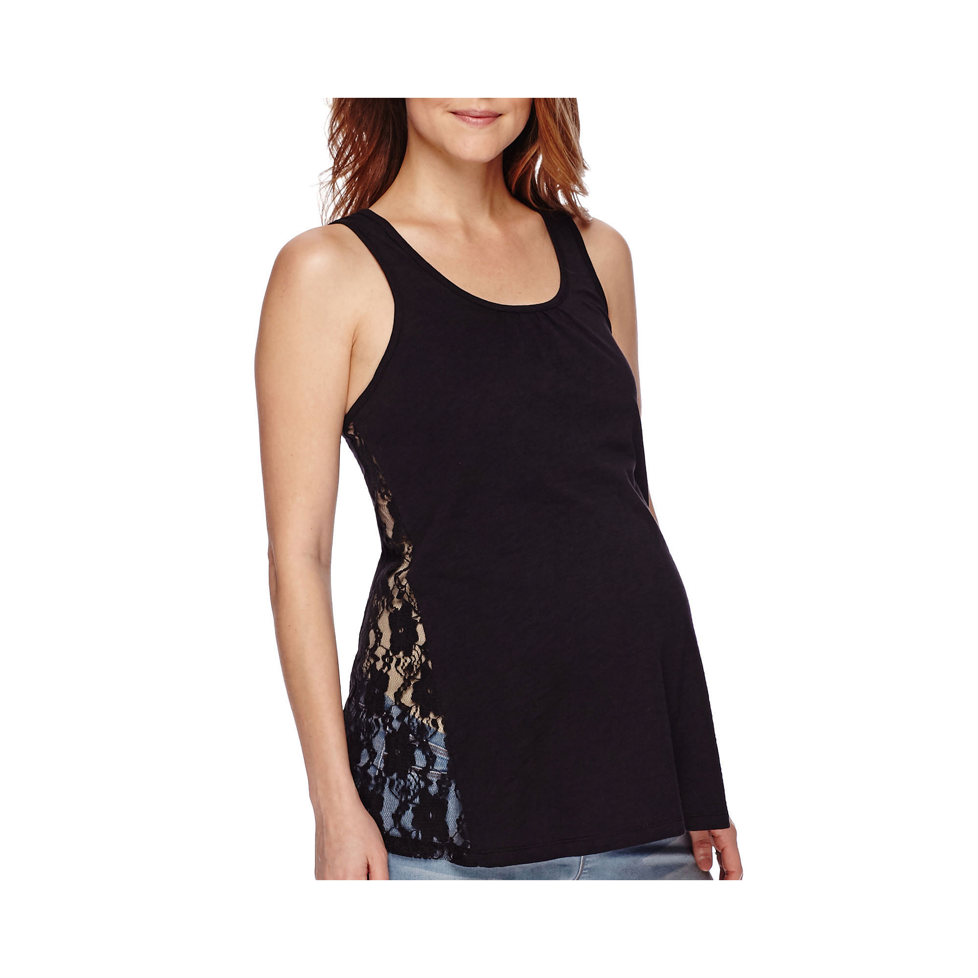Maternity Crochet Lace Tank Top-Plus plus size,  plus size fashion plus size appare