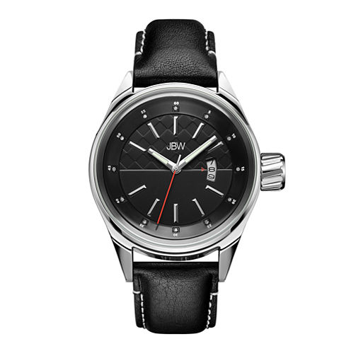 JBW Rook Mens Diamond-Accent Black Leather Strap Watch J6287H