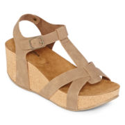 Arizona Sage Strappy Wedge Sandals