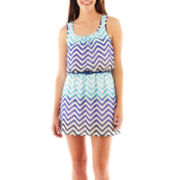 Speechless® Sleeveless Blouson Chevron Print Dress