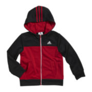 adidas® Tricot-Knit Hooded Track Jacket - Boys 2t-3t