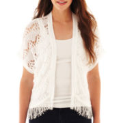 Take Out Short-Sleeve Fringe Shrug