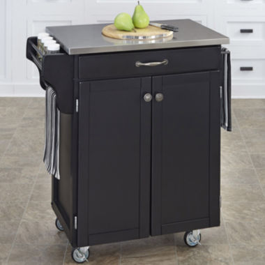create your own small rolling kitchen cart with towel rack