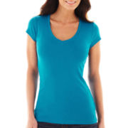 jcp™ Short-Sleeve Ribbed V-Neck Tee