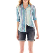 jcp™ Relaxed-Fit Top or Boyfriend Denim Bermuda Shorts