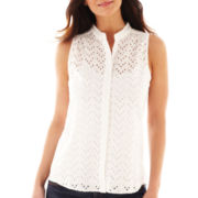 jcp™ Sleeveless Eyelet Woven Top