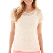 jcp™ Allover Lace Pocket Tee