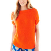 jcp™ Short-Sleeve Tape Yarn Cocoon Sweater
