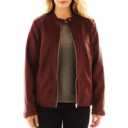Worthington® Zip-Front Mixed-Fabric Jacket