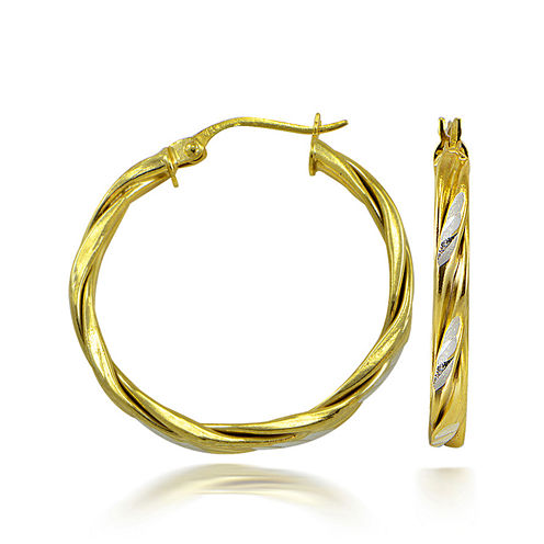 14K Two-Tone Gold Over Sterling Silver Twist Hoop Earrings