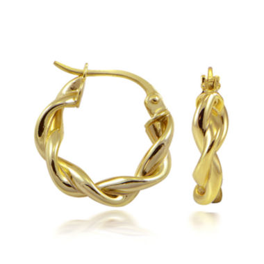 jcpenney.com | 14K Yellow Gold Over Sterling Silver Double-Twist Hoop Earrings
