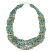 Decree® Aqua and Brown Seed Bead Multi-Strand Necklace
