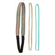 Arizona Embroidered, Metallic and Aqua 3-pc. Head Wrap Set